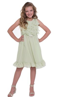 MGD Girl's Chiffon Party Dress with Ruffles SAGE 12. Cute ruffles at top with pin-on brooch. Fully lined. Centered back zipper. Perfect Easter Dress, Flower girl dress, or any special occasion. Runs true to American fit.