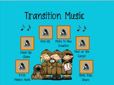 Good idea, keep up on the smartboard all day, teach transition tunes one at a time ... great nonverbal cues for management