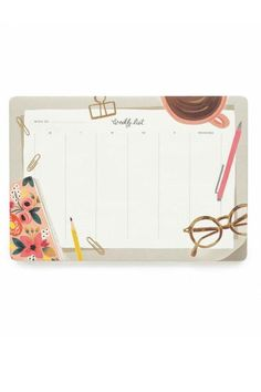 """Rifle Paper Company's beautiful aesthetic is exemplified in their collection of Weekly Desk Pads. Each pad includes tear-off sheets to help you map out your week for a year. It's the perfect size to keep on your desk as a mouse pad and see your week at a glance. Warm White Text Paper.    Measures: 6.75"""" x 9.75""""; 52 pages   Weekly Desk Pad by Rifle Paper Co. . Home & Gifts - Gifts For... - Gifts for clients / colleagues Home & Gifts - Gifts - Books Seattle , Washington"""