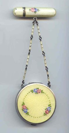 Sterling Silver Enamel Guilloche Tango w/ Flowers & Enameled Chain
