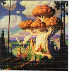 FANTASY-SHROOM-TREE-BLOTTER-ART-psychedelic-perforated-LSD-acid-art-hofmann