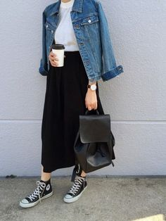 white tee, denim jacket, black midi skirt, converse