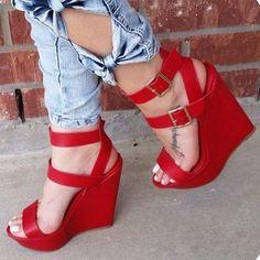 7076953985c Women s Red Suede Wedge Sandals Buckles Open Toe Platform Heels Ankle Strap  Sandals