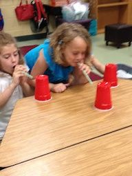 Blowing cup races - motivating oral motor game! (plus a list of other indoor recess)