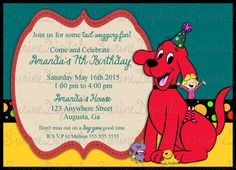 Clifford the Big Red Dog Birthday Party Invitation, Clifford Party Invite by SurineDigitals on Etsy