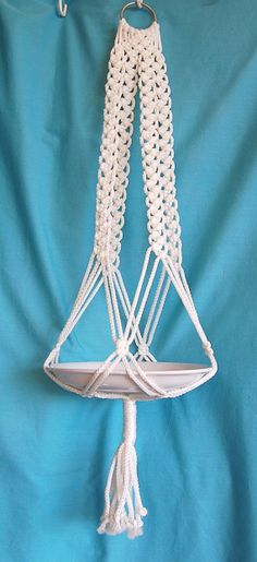 macrame plant hangers | Macrame Plant Hanger White Cord No Beads Mediterranean Accent 30 inch ...