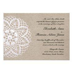 Vintage Rustic Doily Wedding Invitation