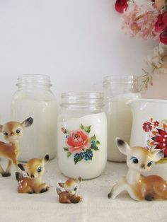 Little vintage deers I love!  And great mason jars with decals.