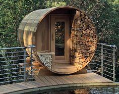Outdoor Sauna Kits, Outdoor Spa, Outdoor Living, Indoor Sauna, Diy Sauna, Sauna House, Sauna Room, Building A Sauna, Barrel Sauna