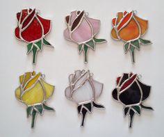 Stained Glass Rose/Rosebud Suncatcher by QTSG on Etsy