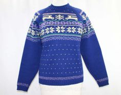 Ski Sweater - Mens - 1940s - Reindeer - Snowflake - Fair Isle Look - Salzburg Austria - Blue - Large - Chest 44 - 41725