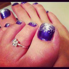 Purple And Silver Nail Design Re Pin Nail Exchange Pinterest