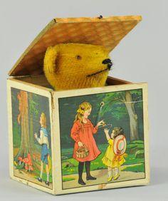 Teddy Bear - Jack in the Box Old Teddy Bears, Antique Teddy Bears, Jack In The Box, Victorian Toys, Victorian Dollhouse, Modern Dollhouse, Pierrot Clown, Toys In The Attic, Tin Toys