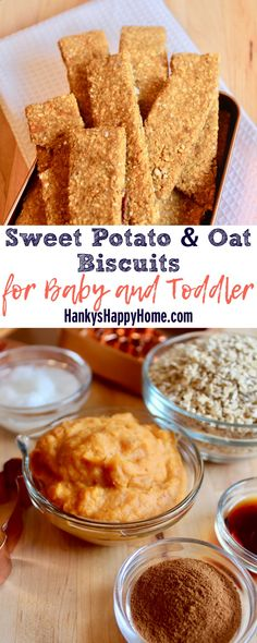 These Sweet Potato  Oat Biscuits combine yummy sweet potatoes with hearty oats. Make them as easy finger food or a homemade teething biscuit.