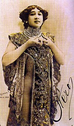 """Caroline Otero - A Bela Otero - 1901 """"From the belle epoque era in Paris.  Caroline Otero was a famous courtesan and amassed a fortune in jewels from her lovers...."""""""