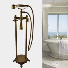 156.87$  Buy here - http://ali9cv.worldwells.pw/go.php?t=1539386686 - Antique Brass Floor Stading Bathtub Faucet Phone Shape Mixer Tap with Hand Spray