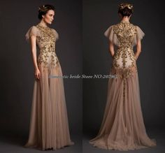 Find More Evening Dresses Information about Free shipping Elegant Evening Dresses High Neck Short Sleeve with gold Appliques robe de soiree special occasion dresses EV a40,High Quality sleeve net,China sleeve dress Suppliers, Cheap sleeve leotard from Romantic bride wedding dress Suzhou Co., Ltd. on Aliexpress.com