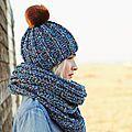 Réalisez ce bonnet en laine à tricoter facilement. Accompagné d'un snood assortivous n'aurez pas froid cet hiver !   ...