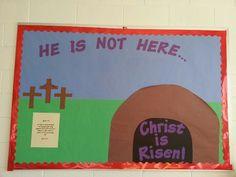 Easter bulletin board- verse is John 3:16.