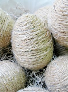 For a fun and creative way to add subtle and rustic charm to your home use twine Easter eggs! Inexpensive, creative way to make your house festive . You can even buy different color twine or die the basic brown to add a little color.
