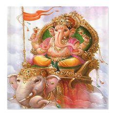 Ganesh on elephant shower curtain