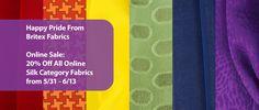 Celebrate Pride Month With Britex Fabrics! 20% Off All Online Silk Category Fabrics! 5/31 - 6/13 https://www.britexfabrics.com/fabric/silk-fabric.html #fabricsale #onlinesale #sale #20percentoff #pride #rainbow #silksale #silk #fabric #fabrics #silkfabric #sfpride #pride2016 #celebrate #fabulous #britexfab #britexfabrics #fourfloorsoffabulous #colorful https://www.britexfabrics.com/fabric/silk-fabric.html 