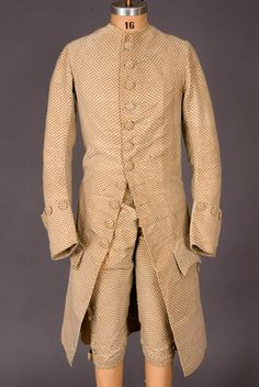 Gent's Printed Cream Velvet Suit, England, 1770's