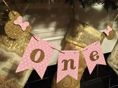 Add a little SPARKLE to your little one's birthday party with this pink and gold Minnie inspired High Chair Banner. This banner compliments other pink and gold Minnie inspired items on the shop. Minnie Mouse First Birthday, Minnie Mouse Theme, Baby Girl 1st Birthday, First Birthday Parties, First Birthdays, Birthday Ideas, Birthday Cake, Pink Gold Cake, Pink Gold Party