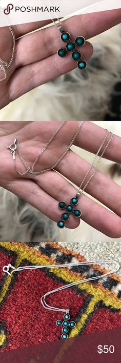 Vintage Silver and Turquoise Cross Necklace Beautiful Native American Cross necklace with pearled turquoise drops set in a silver cross. Comes with silver chain. Looks amazing on a chord choker as well (not included)! Vintage Jewelry Necklaces