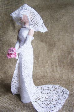 Elegant art chic doll in retro style. I crocheted it of eco friendly cotton yarn. This collectible doll will decorate any interior and attract the attention. It can stand itself. Best gift for mom and girl Height 12 in (30cm)