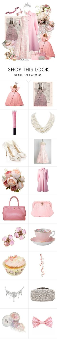 """""""Glinda the Good Witch"""" by indicupcake ❤ liked on Polyvore featuring Shabby Chic, WALL, Witchery, Monsoon, Sartoria Italiana Vintage, Chanel, Royal Albert and Oscar de la Renta"""