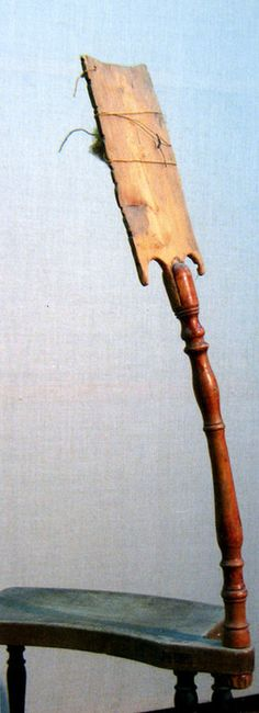Russian distaff with stool base.