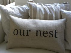 Burlap Our Nest lumbar pillow cover by TheNestUK on Etsy, $28.00