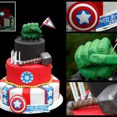 TONS of Avenger cake ideas