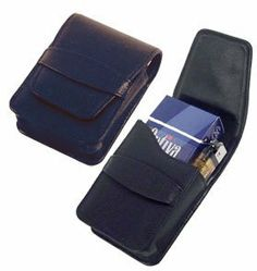 """Vigo"" Black Leather Cigarette Case with Lighter Pouch by Other Brands. $24.99"