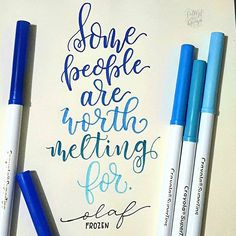 BLUE LETTERING/CALLIGRAPHY ・・・ @Regrann from @lettersofmeeya -  Olaf is…