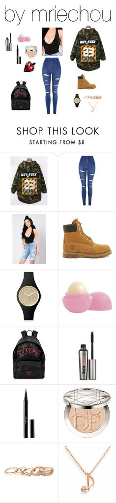 """Untitled #494"" by mriechou ❤ liked on Polyvore featuring Topshop, Timberland, Ice-Watch, Eos, Givenchy, Benefit, Guerlain, Christian Dior, GUESS and SOPHIE MILLER"