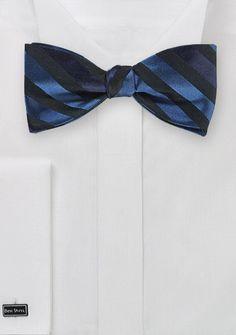 Streifendessin-Herrenschleife schwarz navyblau