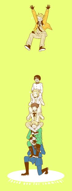 Falling From The Sky by ミトゥイ - Hetalia - America / Japan / France / Spain / England / Prussia - http://www.pixiv.net/member.php?id=1897995