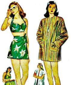 1940s Beach Ensemble Pattern  SIMPLICITY 1302  by ShellMakeYouFlip