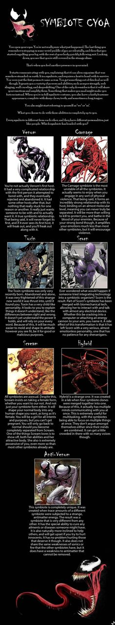 symbiote cyoa I'm inclined to go with either Anti-Venom or Toxin. Leaning towards Anti-Venom, though.