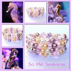 Moderne, mooie zelfgemaakte armbanden, glas parels, glas kralen , Memory wire, seahorse http://some-accessoires.nl