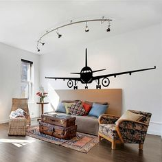 Airplane Wall Decal Jumbo Jet Vinyl Sticker Home Arts Wall Decals Decor WT086 on Etsy, $14.90