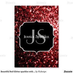 Beautiful Red Glitter sparkles with Monogram Business Cards by #PLdesign #RedSparkles #SparklesCard