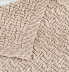 Knitting Pattern Easy Double Basketweave Baby Blanket - Easy blanket uses just knit and purl stitches and is reversible with different interesting textures on either side.