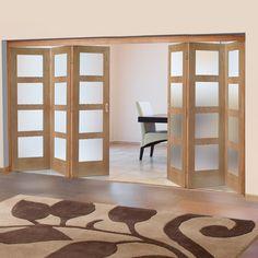 Freefold Oak Shaker 4 Pane Style Folding 6 Door Set with Obscure Glass, Height 2090mm, Width 3726mm. #oakfoldingdoors #internalfodlingdoors #glazedinternalfoldingdoors