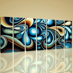 "Original Abstract Painitng On Canvas Giclee Print Huge Wall Art Flow Colorful Extra Large Wall Art, Gallery Wrapped, by Bo Yi Gallery 76""x36"". Original Abstract Painitng On Canvas Giclee Print Huge Wall Art Flow Colorful Subject : Abstract Style : Contemporary Panels : 7 Detail Size : 10""x36""x7 Overall Size : 76""x36"" = 193cm x 91cm Medium : Giclee Print On Canvas Condition : Brand New Frames : Gallery wrapped [FEATURES] Lightweight and easy to hang. High revolution giclee…"