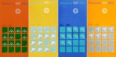 Munich Olympics 1972 - Amazing designs by the legendary Otl Aicher. A flexible and well thought out system. The best one yet, if you ask me.
