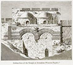 Golden Gate of the Temple at Jerusalem (Western Facade). Illustration ...