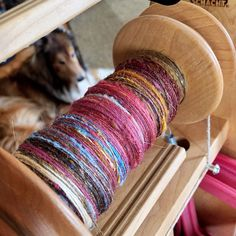"""""""A bit of #spinning today with one of our loving #dogs keeping us company. Sweet old #sheltie with some bright #springcolors. #quirkybitsnpieces"""" Photo taken by @quirkybitsnpieces on Instagram, pinned via the InstaPin iOS App! http://www.instapinapp.com (03/16/2015)"""